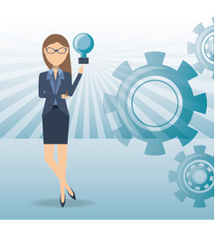 business woman cartoon get an idea vector image