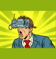businessman in vr glasses screaming vector image