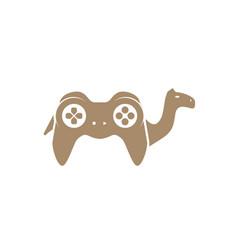 Camel game steak logo design vector