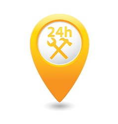 Car service 24h icon on yellow pointer vector