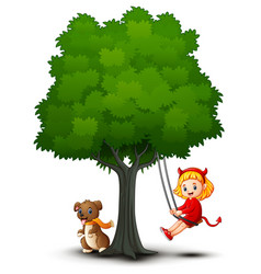 cartoon devil girl and dog play under the tree vector image
