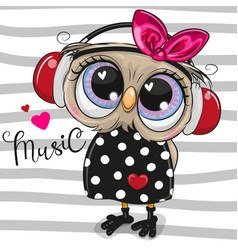 Cartoon owl girl with pink headphones on a vector