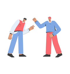 cheerful men greeting each other and friendly vector image