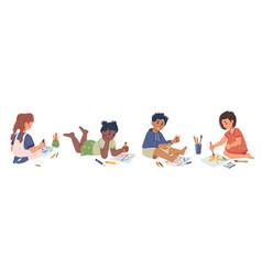 children drawing in art classes in kindergarten vector image