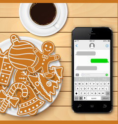 christmas gingerbread with coffee and smartphone vector image