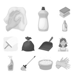 Cleaning and maid monochrome icons in set vector