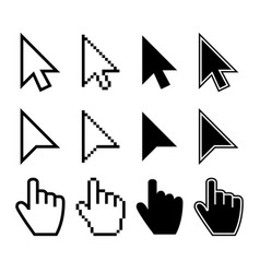 clicking mouse cursors computer finger pointers vector image