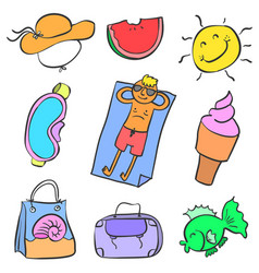 Collection element summer style doodles vector