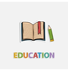Concept Icon education pencil book shadow Sticer vector