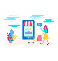 concept young girl buys goods at a discount in vector image