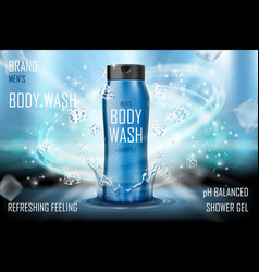 Cooling men s body wash gel with splashing water vector