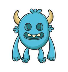 Creepy cartoon furry creature monster vector
