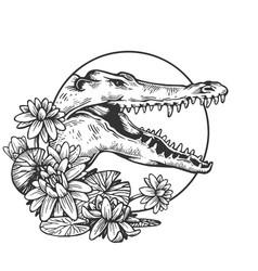Crocodile head animal engraving vector