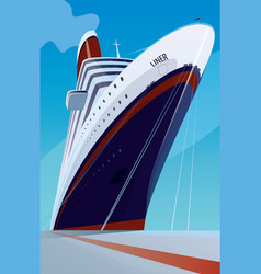 Cruise liner at pier vector