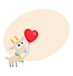 cute and funny goat holding red heart shaped vector image