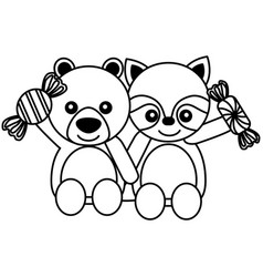 cute bear and raccoon sweet candies vector image