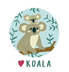cute koala mother with bakoala creative kids vector image