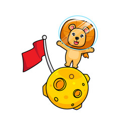 Cute lion king standing in moon design icon vector
