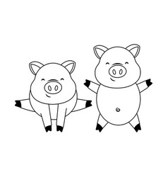Cute pigs couple cartoon vector