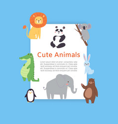 cute safari and jungle animals lion panda bear vector image
