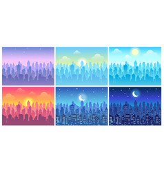 day time cityscape change time day morning vector image