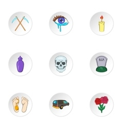 Death icons set cartoon style vector