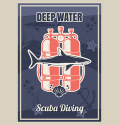 deep diving vintage typography poster template vector image
