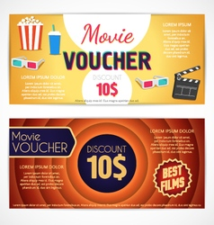 Discount voucher movie template cinema gift vector