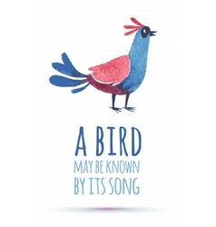 doodle watercolor bird vector image