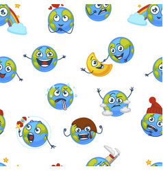 Earth planet expressing emotions emojis seamless vector