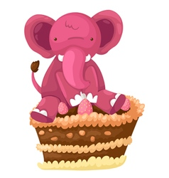 Elephant with cake vector image