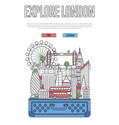 Explore london poster with open suitcase vector