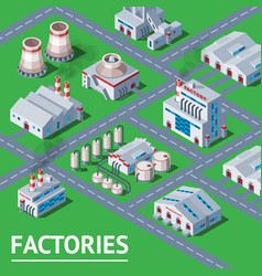 factory industrial building and industry vector image