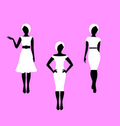 Fashion woman french style model silhouettes vector