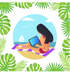 Female working with laptop on mat beach vector