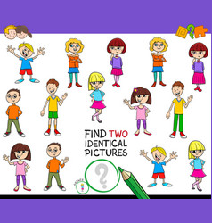 Find two identical pictures game with kids vector