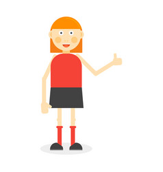 flat color girl on white vector image