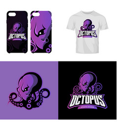 Furious octopus sport club isolated logo vector