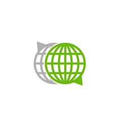 Globe chat logo icon design vector