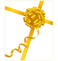 gold holiday bow with ribbons vector image