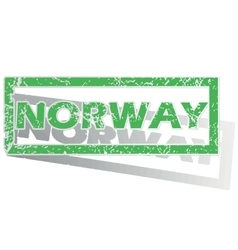 Green outlined Norway stamp vector