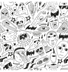 Halloween evil monsters - seamless background vector image