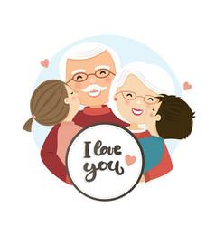 Happy grandparents day scene family hug vector