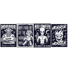 Happy halloween monochrome vintage posters vector