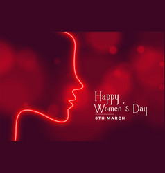 Happy womens day neon style red bokeh banner vector