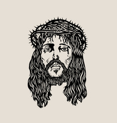 Head christ sketch drawing vector