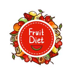 healthy food fruit diet emblem vector image