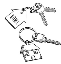 House keychain doodles vector