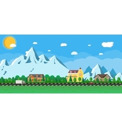Houses in the mountains among the trees road vector image