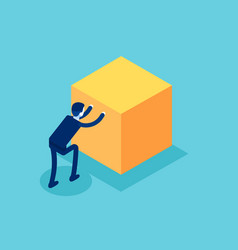 Isometric businessman push cube box concept vector
